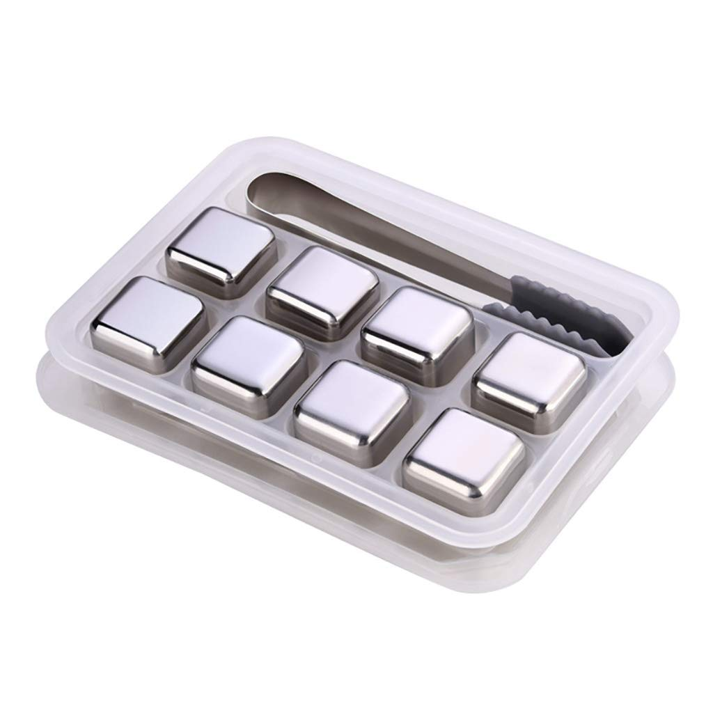 QRMH Stainless Steel Reusable Ice Cubes, Cooling Stones, Beer Cooling, Quick-Frozen Ice Tartar, Ice-Cold Whiskey Chilled Artifact