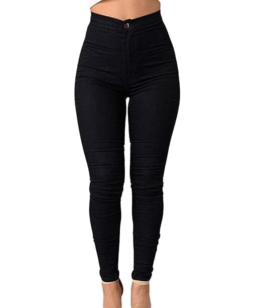 1dd3f01ad9 ZKOO Cintura Alta Pantalones Jeans Mujer Elástico Flacos Vaqueros Leggings  Push up Mezclilla Pantalones  Amazon.es  Ropa y accesorios