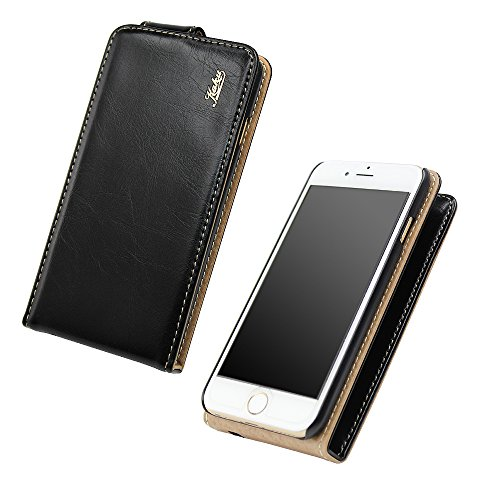 Good Style Iphone 6plus Ultra-Soft Genuine Black Leather Flip Case Cover with Two Card Slot for Apple Iphone 6plus by G4GADGET®