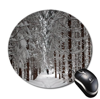 """Blueberry Design Forest Trees with Snow 8"""" Round Mouse Pad Mousepad - Ideal Gift for All Occasions (SNOW)"""