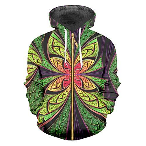 Men's Star Couple Zipper Hoodie 3D Printing Hoodie Flower Pattern Repeat Casual Zip Hoodie Stripe Dizziness S