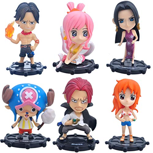 Coz' Place Set of 6 Pieces Mini One Piece Action Figures with Rudder Stands (Nami, Shanba, Robin, Shanks, Ace & Shirahoshi)