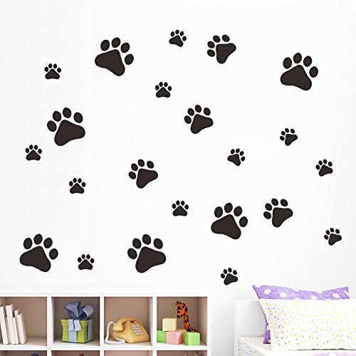BIBITIME 22 Walking Dog Paw Wall Sticker Prints Wall Decal Home Art Decor Bear Dogs Footprints Dish Room Sticker (Walking Wall)