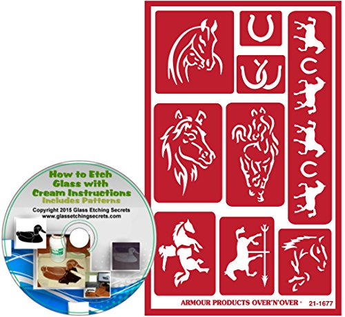 Horse Stencils and Reusable Adhesive Backing: Horseshoe & Cowboy on Horse Or Bronco Glass Etching Stencils + How to Etch CD
