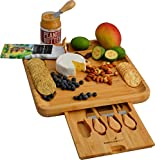 Bamboo Cheese Board with Cutlery Set, Wooden Charcuterie Serving Platter for Wine, Meat, Crackers - With Slide-Out Drawer and 4 Stainless Steel Knife and Server Set