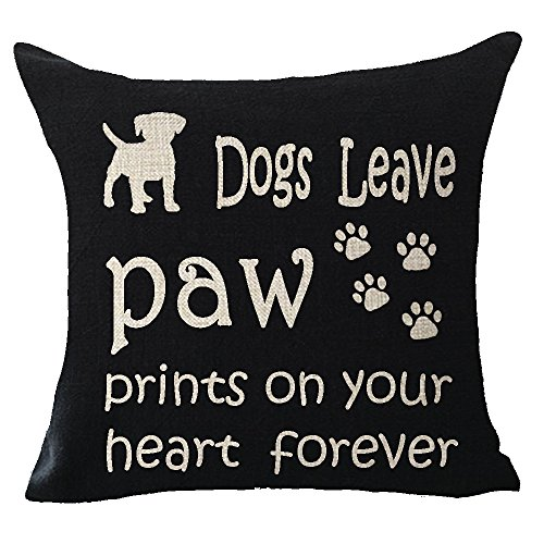 Animal Dog Funny Quote Dogs leave paw prints on your heart forever Throw Pillow Cover Cushion Case Cotton Linen Material Decorative 18