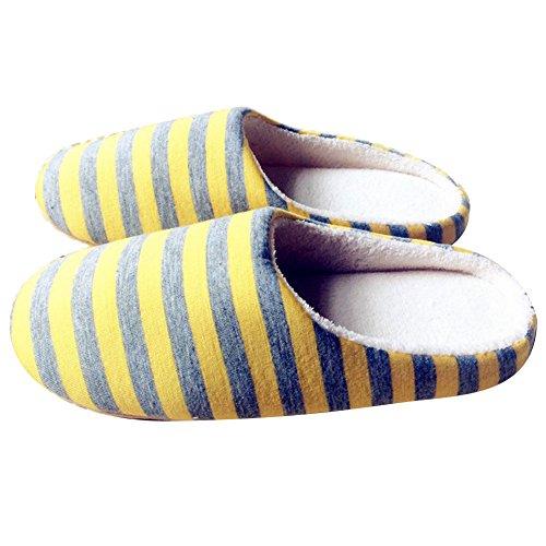 ChenRui Intérieure Chaussons Anti Douce Peluche Hommes Jaune Chaud Chaussures Pantoufles Mules Derapant Slippers Femmes Semelle gfgRr