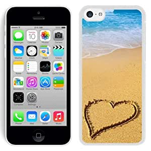Beautiful Unique Designed iPhone 5C Phone Case With Heart Shape Beach Sand_White Phone Case