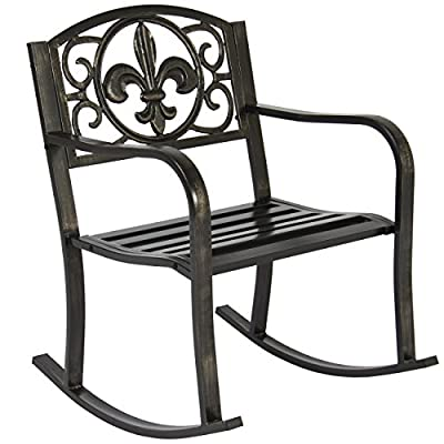 Best Choice Products Metal Rocking Chair Seat for Patio, Porch, Deck, Outdoor w/ Scroll Design - Black/Bronze