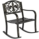 Best Choice Products Metal Rocking Chair Seat for Patio, Porch, Deck, Outdoor w/Scroll Design – Bronze Review