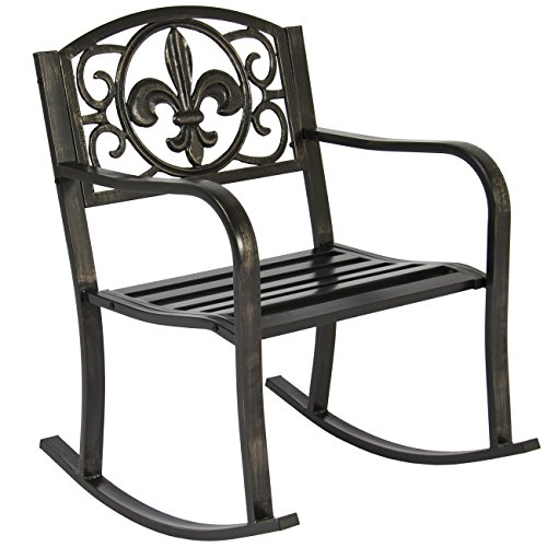 - Best Choice Products Metal Rocking Chair Seat for Patio, Porch, Deck, Outdoor w/Scroll Design - Black/Bronze