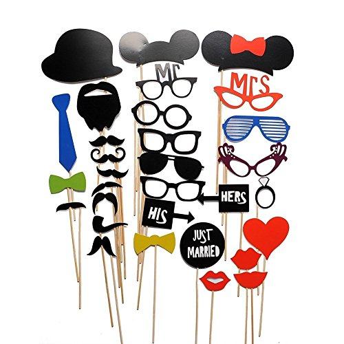 Diy His And Hers Costumes (Funbase 31PCS DIY Masks Glasses Mustache On A Stick Wedding Birthday Party Photo Booth Props)