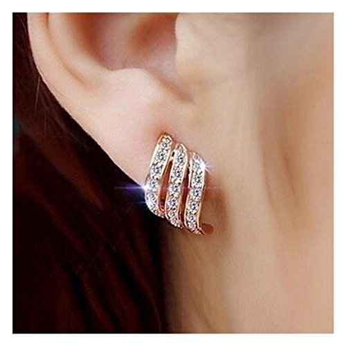Clearance! Lady Elegant Rose Gold Diamond-studded Curving Ear Stud Exquisite Earrings for Women Wedding Jewelry -