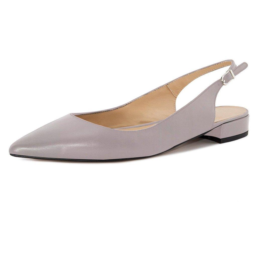 Eldof Women Low Heels Pumps | Pointed Toe Slingback Flat Pumps | 2cm Classic Elegante Court Shoes B07BQNQTKD 7.5 B(M) US|Gray