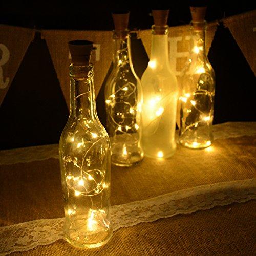 Abkshine 4 Pack Warm White Solar Cork Lights for Empty Wine Bottles, 10 LED Waterproof Glass Bottles Stopper Lights String for Wedding Christmas, Outdoor, Holiday Season, Garden, Patio Pathway Decor by Abkshine