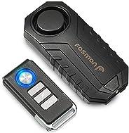 Fosmon Anti Theft Burglar Bike Alarm with Remote, Waterproof Vibration Triggered Battery Operated Loud 113dB W
