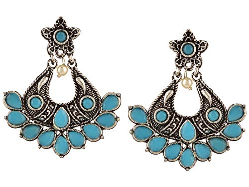 Efulgenz Boho Vintage Antique Gypsy Tribal Crystal Kundan Indian Oxidized Silver Chandbali Dangle Earrings Jewelry