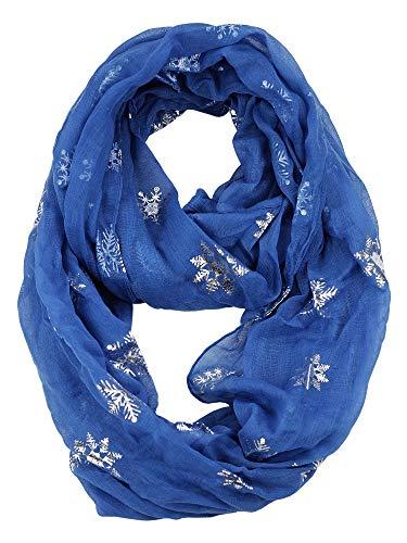 D&Y Christmas Theme Sheer Loop Infinity Scarf, Foil Snowflake, Blue