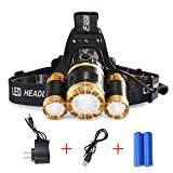 5000 lumens waterproof rechargeable headlamp,4 Light Modes,Moving Zoomable Light.3 XML-T6 LED Headlight Torch with Rechargeable. 18650 Rechargable Battery Adjustable Headband (DC charging)