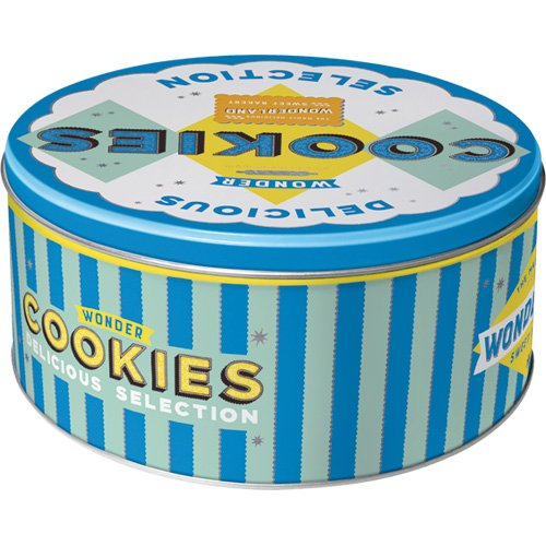 Wonder Cookies Blue Storage Tin Round L Nostalgic-Art 30605 Home /& Country