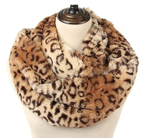 La Carrie Womens Faux Fur Leopard Print Infinity Scarf Loop Circle Neck Warmer(Brown Leopard)