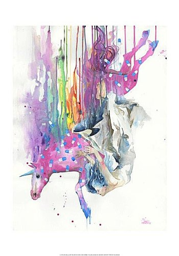 Falling caused by unicorn lora zombie fantasy odd weird illustration figurative print poster 14x20