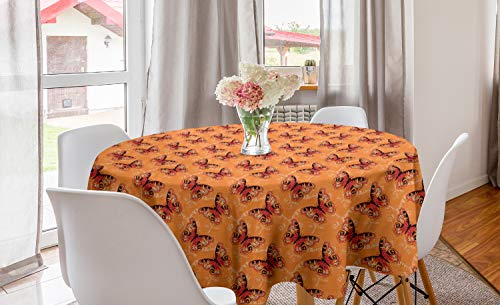Lunarable Moth Round Tablecloth, Monarch Butterflies Beauty of Mother Nature Winged Insects Purity Fragile, Circle Table Cloth Cover for Dining Room Kitchen Decoration, 60