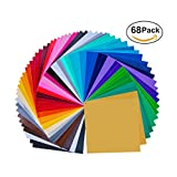 "651 vinyl sheets - 68 Pack 12"" X 12"" Premium Permanent Self Adhesive Vinyl Sheets-Assorted Colors (Glossy,Matt,Metallic and Brushed Metallic) for Cricut,Silhouette Cameo,Craft Cutters,Printers,Letters,Decals"