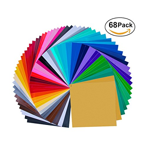 "68 Pack 12"" X 12"" Premium Permanent Self Adhesive Vinyl Sheets-Assorted Colors (Glossy,Matt,Metallic and Brushed Metallic) for Cricut,Silhouette Cameo,Craft Cutters,Printers,Letters,Decals Self Adhesive Permanent Color"