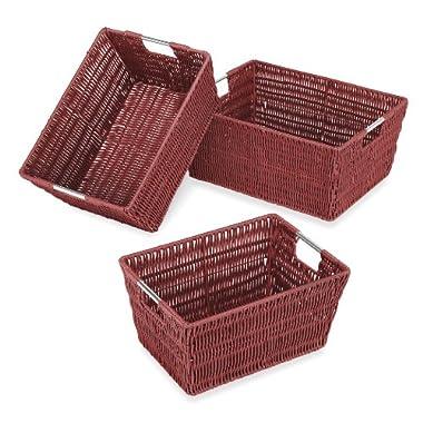Whitmor Rattique Storage Baskets, Set of 3, Red