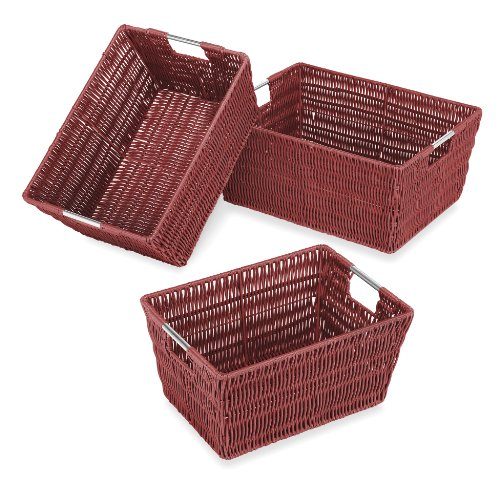 Whitmor Rattique Storage Baskets - Red (3 Piece Set)