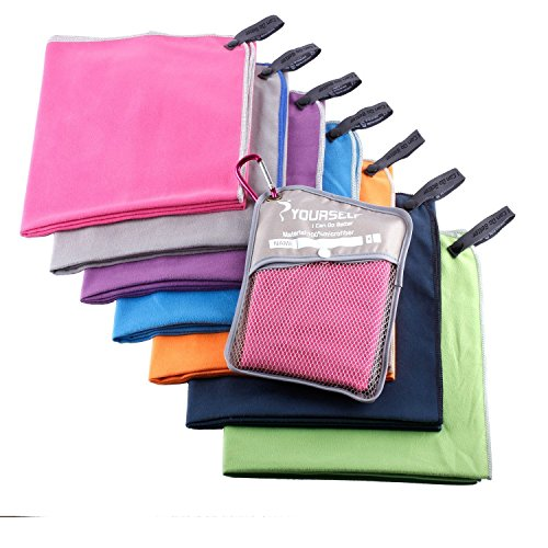 Syourself Microfiber Sports & Travel Towel with Travel Bag & Carabiner, Hot pink, S: 32