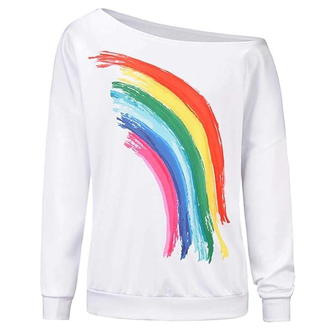 T Hwtop Oberteil Trägerlos Damen Langarmshirt Shirt Regenbogen Hemd CxoedB