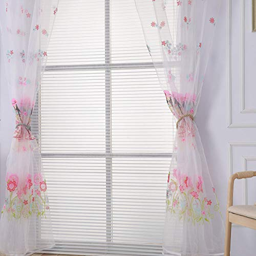 (Sheer Curtains Panels for Livingroom, ♥ Breathable Window Kitchen Shower Curtain 79x39 inch, Beyonds Orchid Ventilation Insulation Voile Treatment Patio Door Drapes)