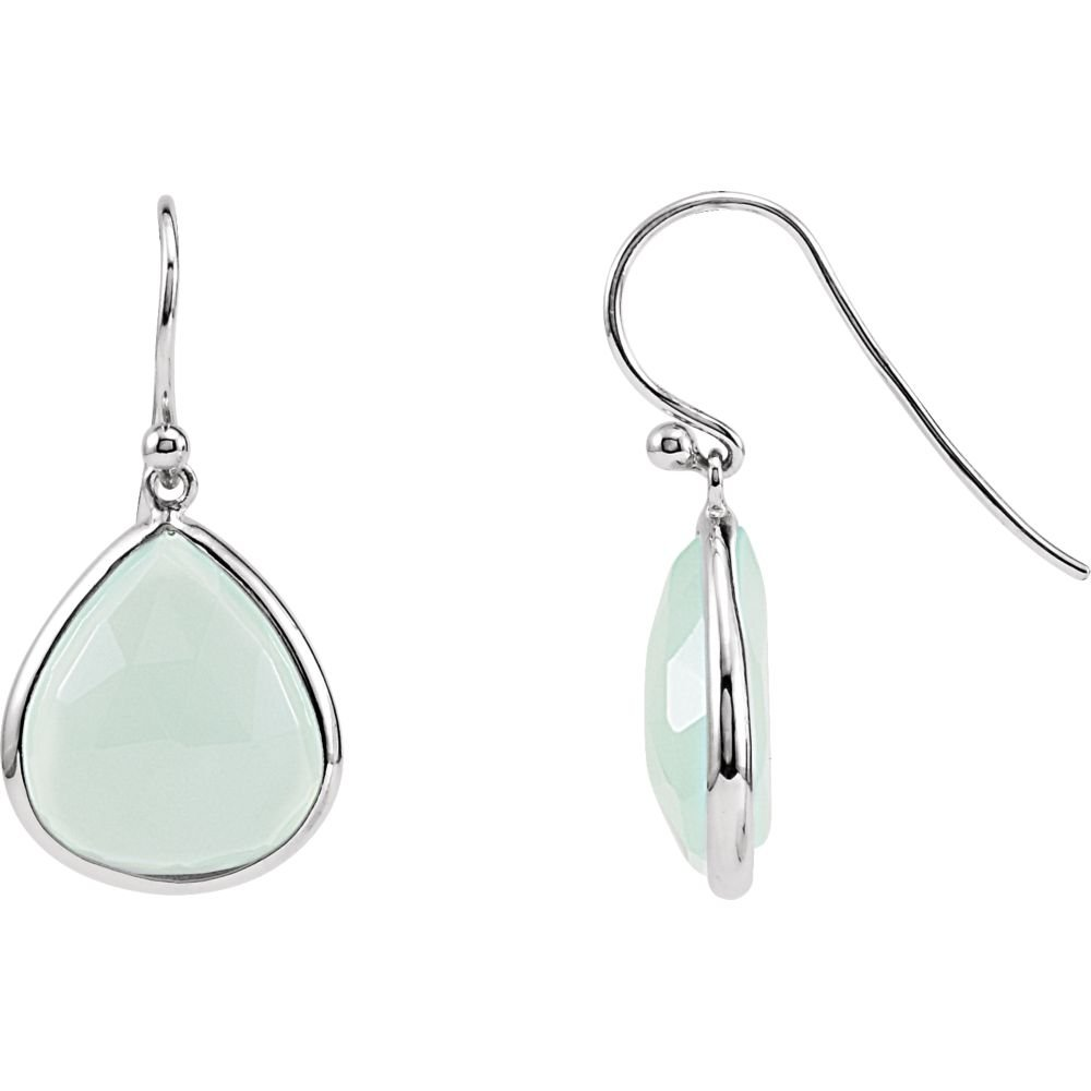 Rhodium-Plated Sterling Silver Aqua Blue Chalcedony Earrings Ideal Gifts For Women