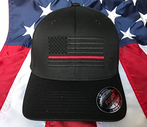Free Personalization, Blacked Out Thin Red Line American Flag Embroidered - Blacked For Free