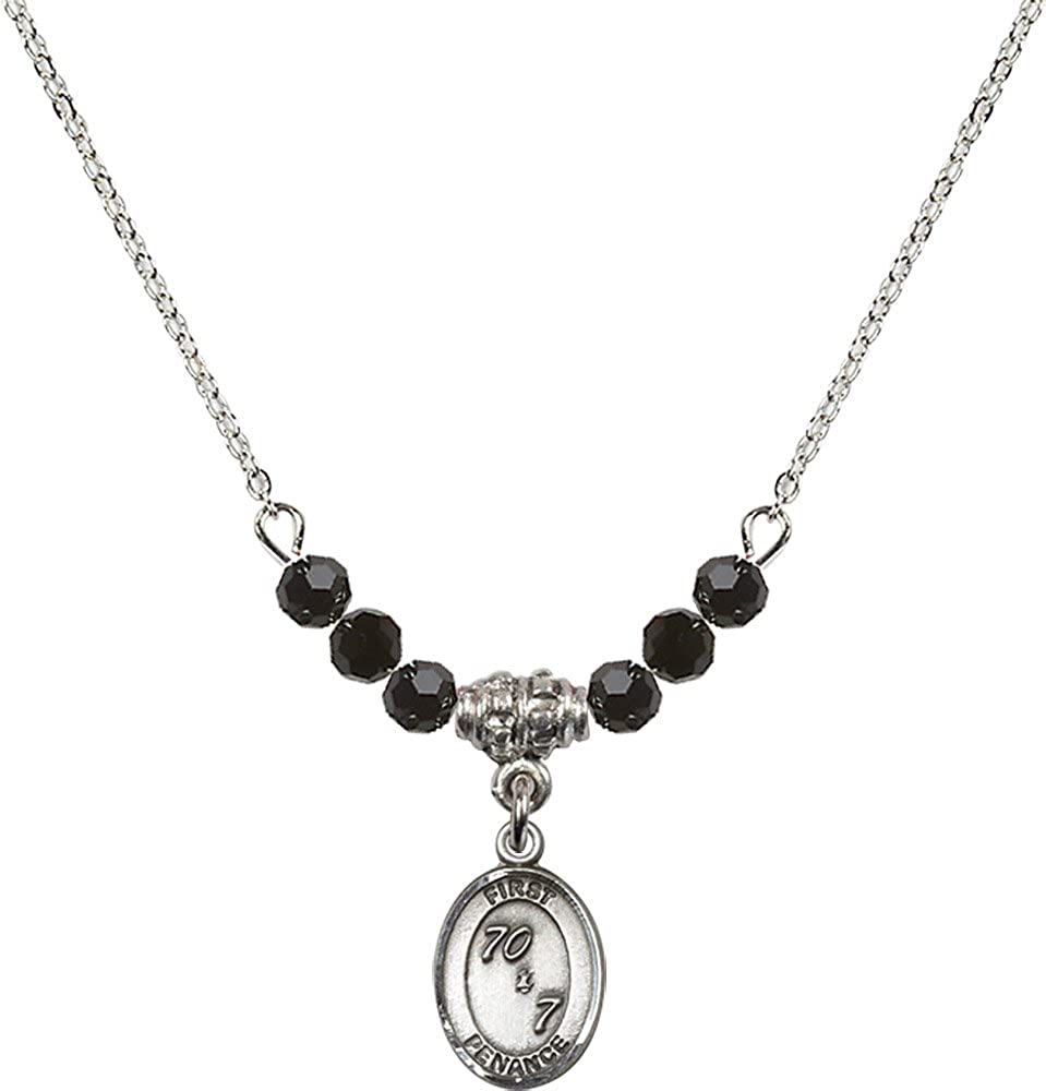 18-Inch Rhodium Plated Necklace with 4mm Jet Birthstone Beads and Sterling Silver First Penance Charm.