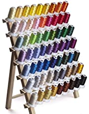 Simthread Polyester Embroidery Machine Thread - 40WT, 63 Colors / Kit, 500M ( 550 Yrds ) Each, for Brother, Babylock, Janome, Singer, Bernina Embroidery and Sewing Machines