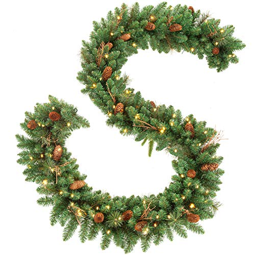 OasisCraft 9FT Christmas Garland Decorations with 20 Pine Cones, Branches and 50 Battery Operated Warm Lights and Timer (Garland Battery Lit Operated Pre)