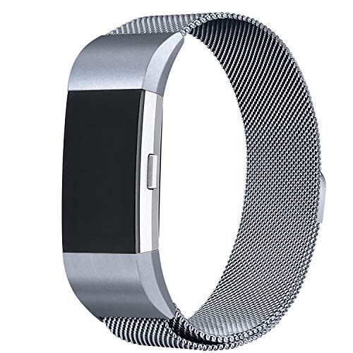 Smoke Mens New Jumper (bayite Milanese Loop Bands Compatible Fitbit Charge 2, Stainless Steel Magnet Lock Metal, Smoke Gray Small)
