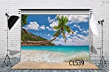 LB Tropical Beach Backdrop for Photography 7x5ft Vinyl Hawaiian Seaside Palm Tree Photography Backgrounds for Birthday Party Wedding Event Customized Photo Studio Backgrounds Props