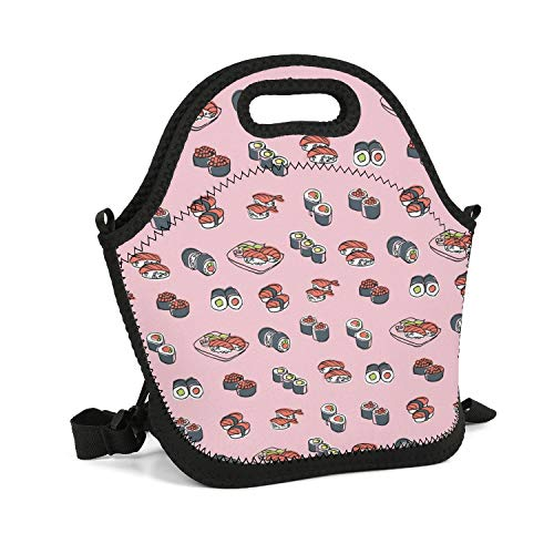 Octayi Adult Lunch Box Insulated Lunch Bag Oriental Food Sushi Tote Bag Carry Case Handbags with Zipper for Men Women Kids Work Outdoor Travel Picnic ()
