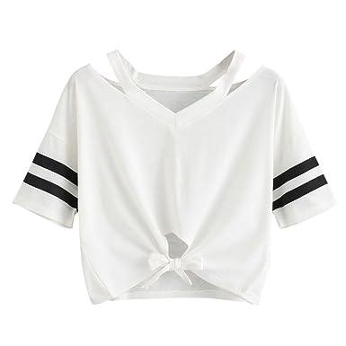 ff6675d5be1e HARRYSTORE Woman Girl Knot Front Crop T-Shirt  Top Women Girls Short ...