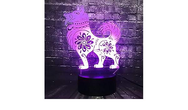 BFMBCHDJ Cute Dog Wolf Animal Holiday Niños Fiesta Diversión Regalo Acrílico 7 Color Led Decoración Baby Sleep Mood Night Light A3 Base negra + control remoto: Amazon.es: Iluminación