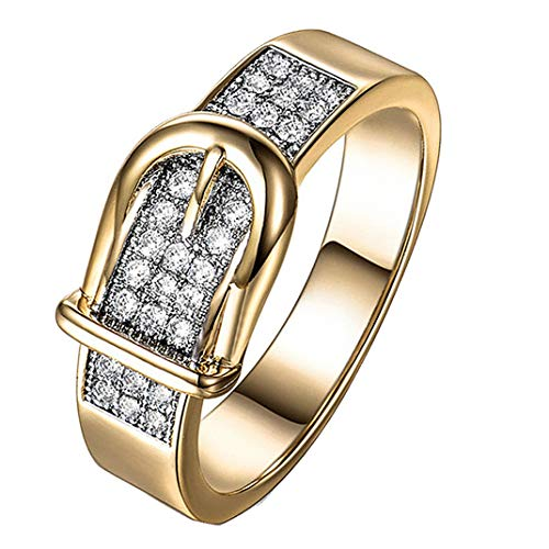 ManxiVoo Belt Buckle Rings for Women Crystal Cubic Zirconia Engagement Wedding Finger Ring Band (Gold, 6)