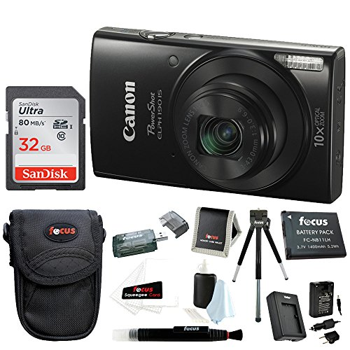Canon PowerShot ELPH 190 is 20 MP Digital Camera (Black) w/ 32GB Accessory Bundle (Best Digital Camera For Traveling Abroad)
