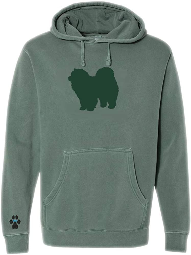 Heavyweight Pigment-Dyed Hooded Sweatshirt with/ Chow Chow Silhouette