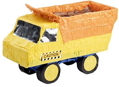 Dump Truck Pinata - Kids Birthday Party Supplies for Construction Themed Party, Yellow, 15.7 x 9.2 x 6.3 Inches