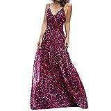 Libermall Women's Dresses Sexy V Neck Leopard Print High Waist Evening Party Long Maxi Dress Beach Sundress Hot Pink