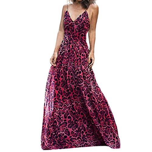 - ANJUNIE Women's Leopard Print High Waist Maxi Dress Sleeveless V-Neck Long Evening Party Dress(Hot Pink,XL)